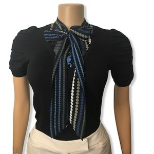 Maurices Top Layered Bow tie Black Blue white